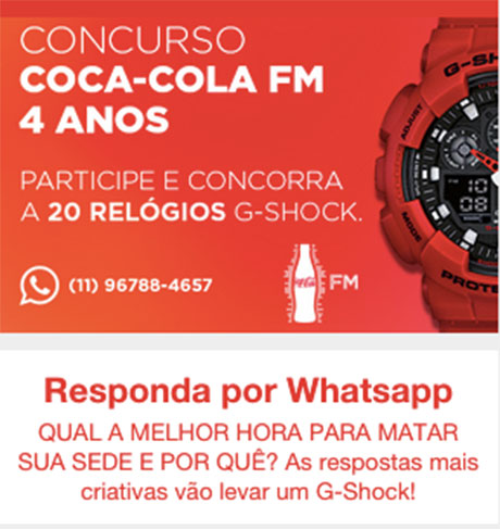 Concurso Cultural Coca-Cola FM Relógio G-Shock