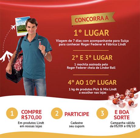 Promoção Lindt Conheça Roger Federer na Suíça