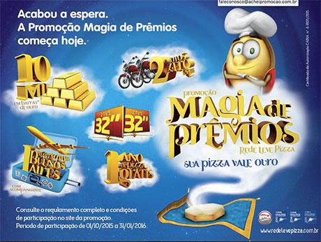 Promoção Rede Leve Pizza Magia de Prêmios