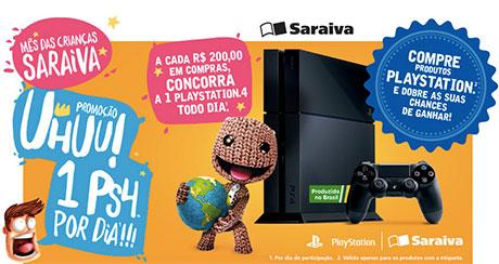 Promoção Saraiva 1 PlayStation 4 por dia