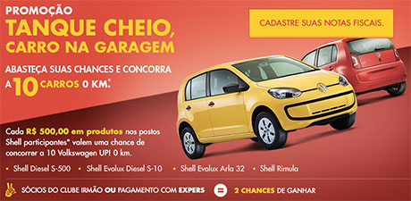 Promoção Shell Tanque Cheio Carro na Garagem