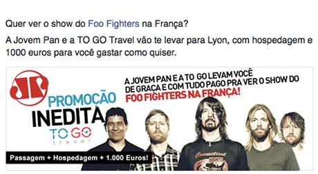 Promoção Jovem Pan e To Go Travel Foo Fighters na França