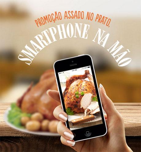Promoção Palacios Assado no prato smartphone na mão