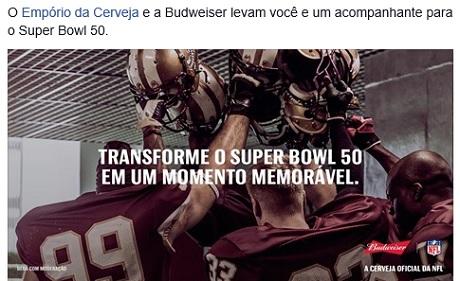Promoção Empório da Cerveja Bud Super Bowl