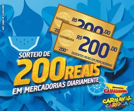 Promoção Supermercados Guanabara Sorteio de 200 reais por dia