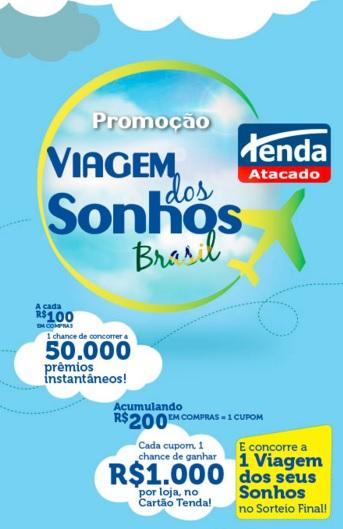 Promoção Tenda Atacado Viagem dos Sonhos Brasil