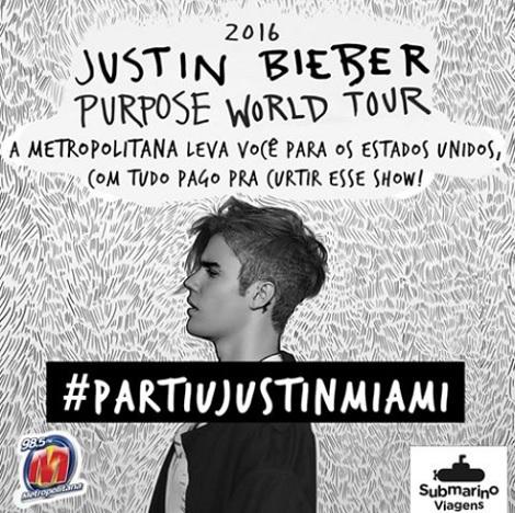 Promoção Metropolitana FM Partiu Justin Miami