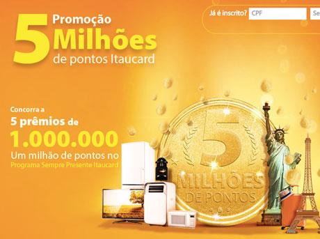 Promoção 5 Milhões de Pontos Itaucard