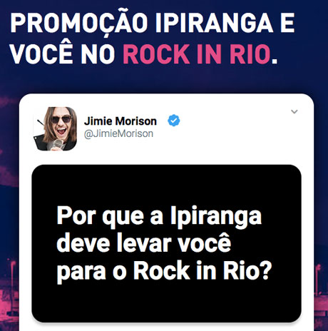 Promoção Ipiranga e Você noRock In Rio