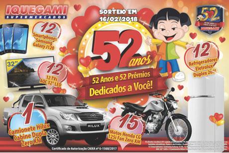 Promoção Iquegami Supermercados 52 Anos e 52 Prêmios Dedicados a Você