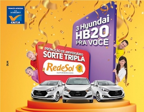 Promoção Rede Sol Supermercados Aniversário Sorte Tripla