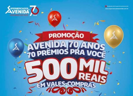 Promoção Supermercados Avenida 70 Anos 70 Prêmios pra Você