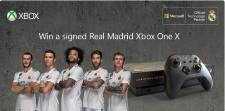 Promoção Sorteio Console Personalizado do Xbox One X para o Real Madrid