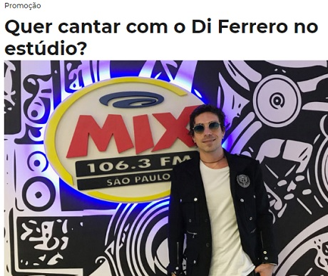 Promoção Mix FM Quer cantar com o Di Ferrero no estúdio?