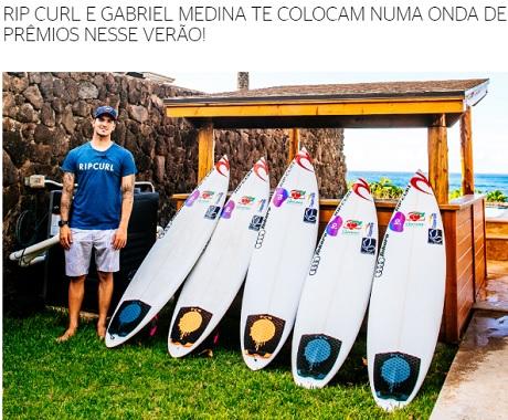 Promoção Rip Curl e Gabriel Medina Onda de Prêmios