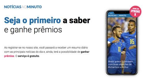 Promoção Notícias ao MinutoQuer ganhar um iPhone X?
