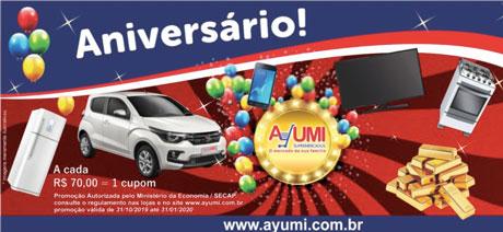 Promoção Ayumi Supermercados Prêmios Incríveis de Aniversário