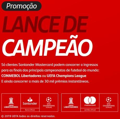 Promoção Santander Mastercard Lance de Campeão